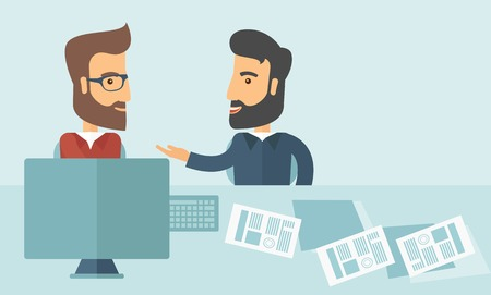 Two Caucasian businessmen with beard sitting while talking infront of laptop and documents agreeing on a business deal. Partnership, teamwork concept. A contemporary style with pastel palette soft blue tinted background. Vector flat design illustration. H