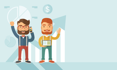 happy employees: Two hipster Caucasian employees with beard standing happy for the certicate award they received. Winner, happy concept.A contemporary style with pastel palette soft blue tinted background. Vector flat design illustration. Horizontal layout with text space