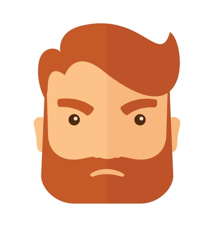 A hipster Caucasian businessman with beard is angry pointing his wristwatch inside the office. Angry concept. A contemporary style. Vector flat design illustration isolated on white background. Square layout.