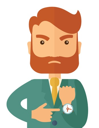 A hipster Caucasian businessman with beard is angry pointing his wristwatch inside the office. Angry concept. A contemporary style. Vector flat design illustration isolated on white background. Vertical layout.