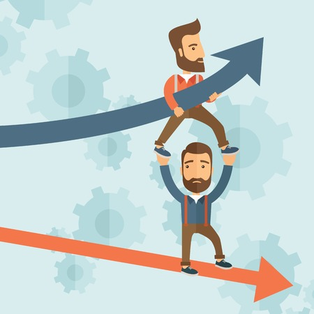 Two hipster Caucasian businessmen with beard with red and blue arrows. Blue is for success and red is for failure in business. Team building. A contemporary style with pastel palette soft blue tinted background. Vector flat design illustration. Square lay
