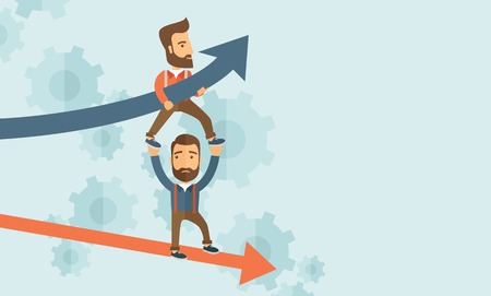 failed strategy: Two hipster Caucasian businessmen with beard with red and blue arrow. Blue is for success and red is for failure in business. Team building. A contemporary style with pastel palette soft blue tinted background. Vector flat design illustration. Horizontal