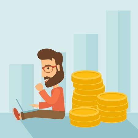 Successful hipster Caucasian businessman with beard is sitting with a pile of gold coins on his back and a laptop on his lap. Winner concept. A contemporary style with pastel palette soft blue tinted background. Vector flat design illustration. Square lay