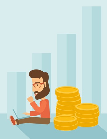 Successful hipster Caucasian businessman with beard is sitting with a pile of gold coins on his back and a laptop on his lap. Winner concept,  A contemporary style with pastel palette soft blue tinted background. Vector flat design illustration. Vertical
