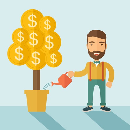 A Caucasian businessman with beard standing while happily watering a money plant growing bigger in a pot as a sign of his success in business. Career, investor concept. A contemporary style with pastel palette soft blue tinted background. Vector flat desi