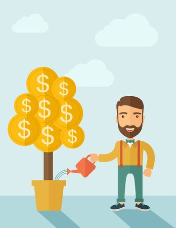 investor: A Caucasian businessman with beard standing while happily watering a money plant growing bigger in a pot as a sign of his success in business. Career, investor concept. A contemporary style with pastel palette soft blue tinted background. Vector flat desi