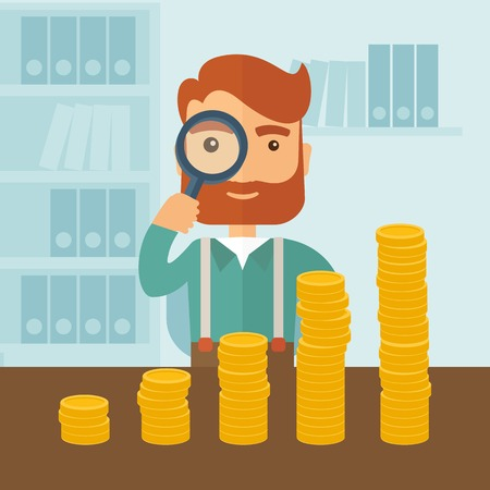 A hipster Caucasian businessman with beard looking his growing business in financial crisis concept. Economy and money, coin and success. When others falls, we rise up. A contemporary style with pastel palette soft blue tinted background. Vector flat desi Reklamní fotografie - 38392387