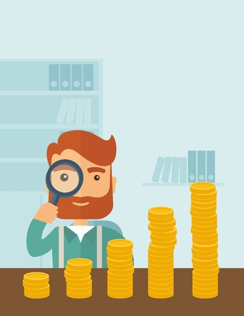 growing business: A hipster Caucasian businessman with beard looking his growing business in financial crisis concept. Economy and money, coin and success. When others falls, we rise up. A contemporary style with pastel palette soft blue tinted background. Vector flat desi Illustration