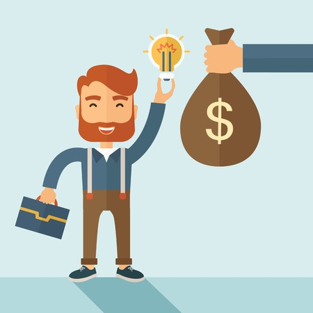 cash cycle: A hipster Caucasian businessman with beard exchange his hand with idea bulb to hand of money bag. Exchanging concept. A contemporary style with pastel palette soft blue tinted background. Vector flat design illustration. Square layout with text space on r Illustration