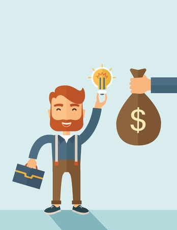 exchanging: A hipster Caucasian businessman with beard exchange his hand with idea bulb to hand of money bag. Exchanging concept. A contemporary style with pastel palette soft blue tinted background. Vector flat design illustration. Vertical layout with text space on