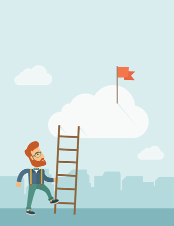 A hipster Caucasian man with beard standing while holding the career ladder to get the flag in the clouds. Career, success concept. A contemporary style with pastel palette soft blue tinted background with desaturated clouds. Vector flat design illustrati Vector