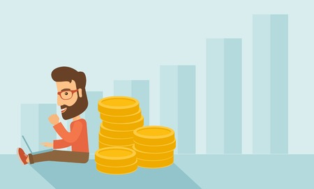 Successful hipster Caucasian businessman with beard is sitting with a pile of gold coins on his back and a laptop on his lap. Winner concept,  A contemporary style with pastel palette soft blue tinted background. Vector flat design illustration. Horizonta
