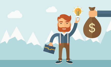exchanging: A hipster Caucasian businessman with beard exchange his hand with idea bulb to hand of money bag. Exchanging concept. A contemporary style with pastel palette soft blue tinted background with desaturated clouds. Vector flat design illustration. Horizontal Illustration