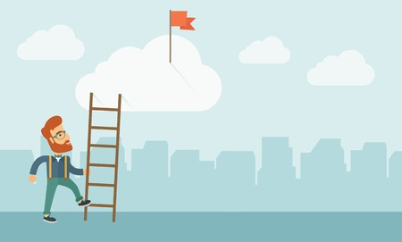 illustrati: A hipster Caucasian man with beard standing while holding the career ladder to get the flag in the clouds. Career, success concept. A contemporary style with pastel palette soft blue tinted background with desaturated clouds. Vector flat design illustrati