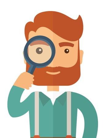 Un homme avec une barbe tenue tout en regardant à travers une loupe pour comprendre son entreprise. Vector design plat illustration isolé sur fond blanc. Présentation verticale.