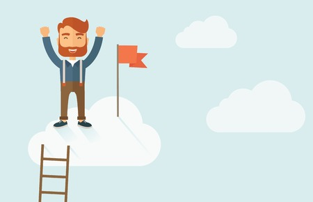 ho: A hipster businessman climbed using the ladder and standing on the top of the cloud holding the red flag. Leadership concept. A contemporary style with pastel palette soft blue tinted background with desaturated clouds. Vector flat design illustration. Ho Illustration