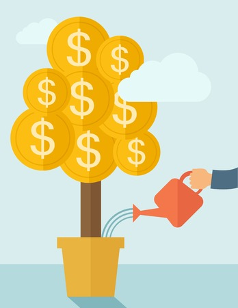 grow money: A human hand watering money dollar coin tree to grow bigger. Hardworking concept. A contemporary style with pastel palette soft blue tinted background with desaturated clouds. Vector flat design illustration. Vertical layout.