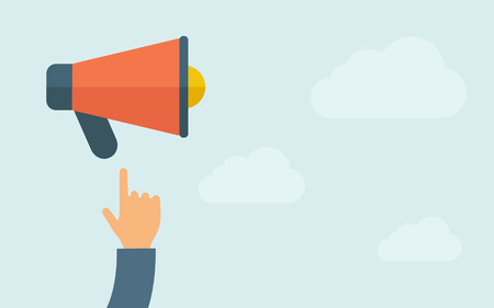 A hand pointing to megaphone. A contemporary style with pastel palette, light blue cloudy sky background. Vector flat design illustration. Horizontal layout with text space on right part. Illustration