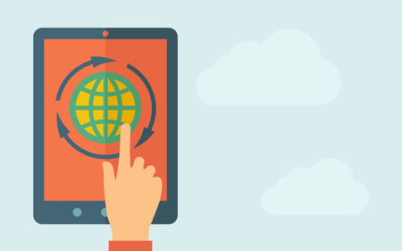 A hand is touching the screen of a tablet with globe icon. A contemporary style with pastel palette, light blue cloudy sky background. Vector flat design illustration. Horizontal layout with text space on right part. Vector