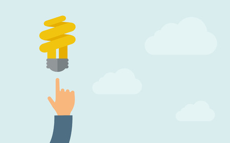 A hand pointing to spiral bulb icon. A contemporary style with pastel palette, light blue cloudy sky background. Vector flat design illustration. Horizontal layout with text space on right part.