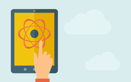 touchpad: A hand is touching the screen of a tablet with science technology icon. A contemporary style with pastel palette, light blue cloudy sky background. Vector flat design illustration. Horizontal layout with text space on right part.