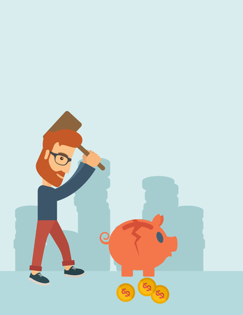 desperation: A hipster Caucasian businessman standing while holding a hammer breaking piggy bank with dollar coins for financial assistance of his foreclosure business. Financial crisis concept. A contemporary style with pastel palette soft blue tinted background. Vec