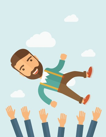 happiness concept: A successful smiling hipster Caucasian businessman with beard being throwing up to the sky by his teamwork or colleague. Happiness concept. A contemporary style with pastel palette soft blue tinted background with desaturated clouds. Vector flat design il Illustration