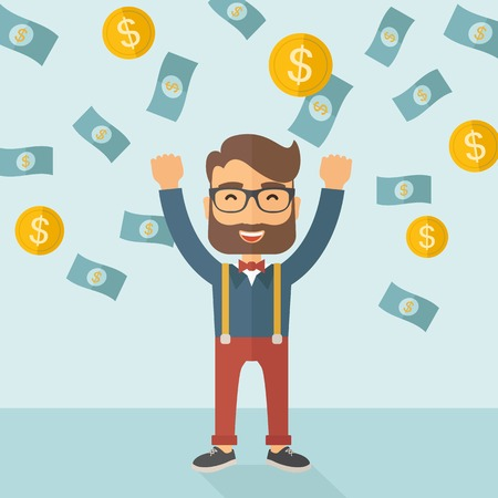 cartoon money: A young hipster Caucasian businessman happy under falling raining money shower a coin and bill dollar money. Winner, happy concept. A contemporary style with pastel palette soft blue tinted background. Vector flat design illustration. Square layout.