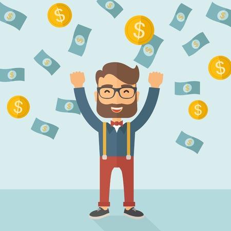 Een jonge hipster blanke zakenman graag onder vallen regent geld douchen een munt en biljet dollar geld. Winnaar, gelukkig concept. Een hedendaagse stijl met pastel palet zachte blauwe getinte achtergrond. Vector platte ontwerp illustratie. Vierkante indeling.