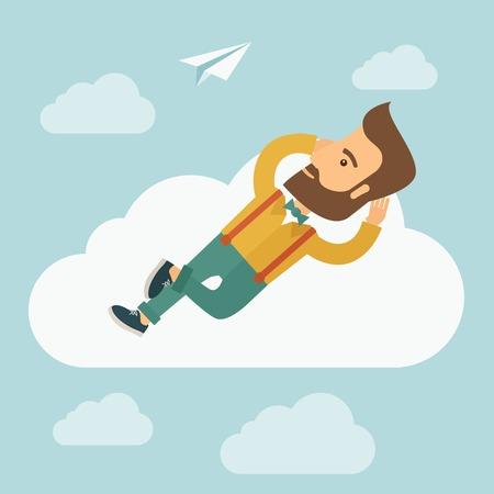 Un hombre de raza caucásica inconformista es relajante mientras está acostado en una nube. Un estilo contemporáneo con la paleta de colores pastel suave de fondo pintado de azul con nubes desaturados. Vector diseño plano ilustración. Planta cuadrada.