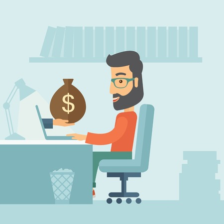 tinted glasses: Businessman with beard wearing glasses sitting infront of his table working at a laptop searching and browsing with bag of money on hand inside the office. Business concept. A contemporary style with pastel palette soft blue tinted background. Vector flat