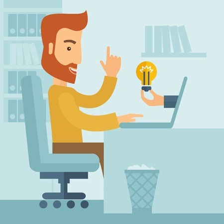 A happy businessman with beard sitting while working infront of his desk getting a brilliant idea for business from the laptop. Business concept. A contemporary style with pastel palette soft blue tinted background. Vector flat design illustration. Square Illustration