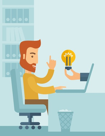 A happy businessman with beard sitting while working infront of his desk getting a brilliant idea for business from the laptop. Business concept. A contemporary style with pastel palette soft blue tinted background. Vector flat design illustration. Vertic