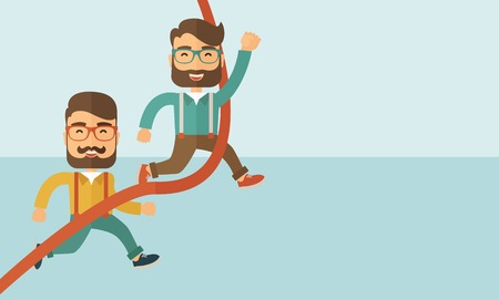 A happy two hipster Caucasian men with beard running to the finish line for meeting the deadline. Winner, victory concept.A contemporary style with pastel palette soft blue tinted background. Vector flat design illustration. Horizontal layout with text sp