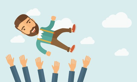 A successful smiling hipster Caucasian businessman with beard being throwing up to the sky by his teamwork or colleague. Happiness concept. A contemporary style with pastel palette soft blue tinted background with desaturated clouds. Vector flat design il 矢量图像
