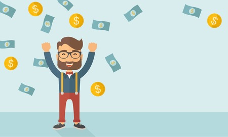 A young hipster Caucasian businessman happy under falling raining money shower a coin and bill dollar money. Winner, happy concept. A contemporary style with pastel palette soft blue tinted background. Vector flat design illustration. Horizontal layout wi