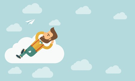 A hipster Caucasian man is relaxing while lying on a cloud. A contemporary style with pastel palette soft blue tinted background with desaturated clouds. Vector flat design illustration. Horizontal layout with text space in right side. Illustration