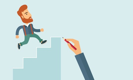 A hand with red pen drawn a hipster Caucasian business man climbing stairs, a concept of success and career. A contemporary style with pastel palette soft blue tinted background. Vector flat design illustration. Horizontal layout with text space in right
