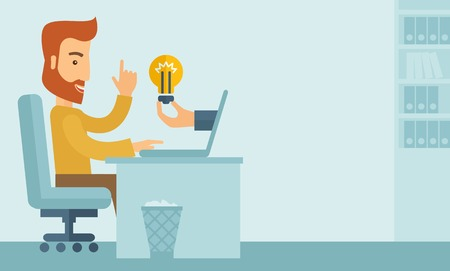 A happy businessman with beard sitting while working infront of his desk getting a brilliant idea for business from the laptop. Business concept. A contemporary style with pastel palette soft blue tinted background. Vector flat design illustration. Horizo