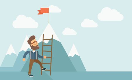 desaturated: A businessman standing while holding the career ladder getting the red flag his reach his goal to be a successful businessman. Leadership concept. A contemporary style with pastel palette soft blue tinted background with desaturated clouds. Vector flat de