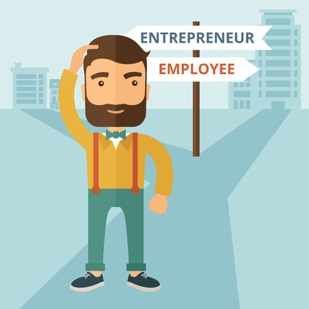A hipster Caucasian man change career directions employee to entrepreneur street direction a sign of progress a big decision to make in changing direction. Improvement concept. A contemporary style with pastel palette soft blue tinted background. Vector f Ilustracja
