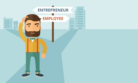 different jobs: A hipster Caucasian man change career directions employee to entrepreneur street direction a sign of progress a big decision to make in changing direction. Improvement concept. A contemporary style with pastel palette soft blue tinted background. Vector f Illustration