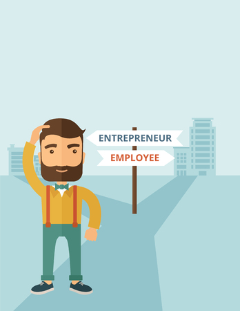 new opportunity: A hipster Caucasian man change career directions employee to entrepreneur street direction a sign of progress a big decision to make in changing direction. Improvement concept. A contemporary style with pastel palette soft blue tinted background. Vector f Illustration