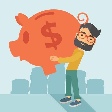 Zakenman draagt op zijn twee armen zijn grote spaarpot voor de economie doeleinden geld te besparen is erg belangrijk. Een eigentijdse stijl met pastel palet zachte blauwe getinte achtergrond. Vector platte ontwerp illustratie. Vierkante lay-out.
