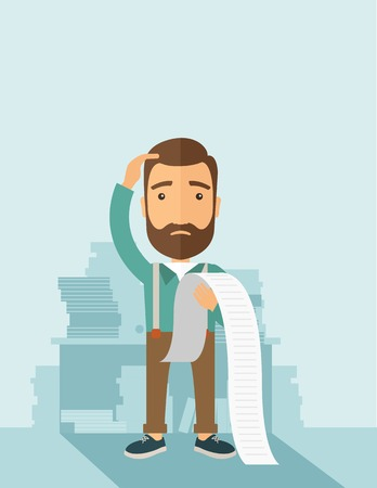cartoon businessman: A sad hipster Caucasian man with beard standing holding a paper feels headache and worries about paying a lot of bills. Problem, worries concept. A contemporary style with pastel palette soft blue tinted background. Vector flat design illustration. Vertic
