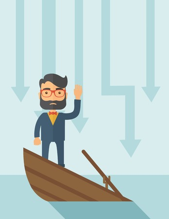 bad luck: A sad man with beard wearing eyeglasses standing on a sinking boat with those arrows on his back pointing down symbolize that his business is loosing. He needs help. A contemporary style with pastel palette soft blue tinted background. Vector flat design
