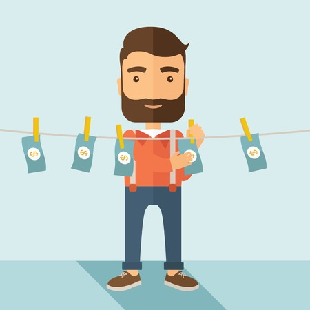 laundering: A businessman with beard standing hanging his money has a financial problem. He enter into money laundering business. Bankruptcy concept.  A contemporary style with pastel palette soft blue tinted background. Vector flat design illustration. Square layout Illustration