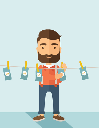 laundering: A businessman with beard standing hanging his money has a financial problem. He enter into money laundering business. Bankruptcy concept.  A contemporary style with pastel palette soft blue tinted background. Vector flat design illustration. Vertical layo