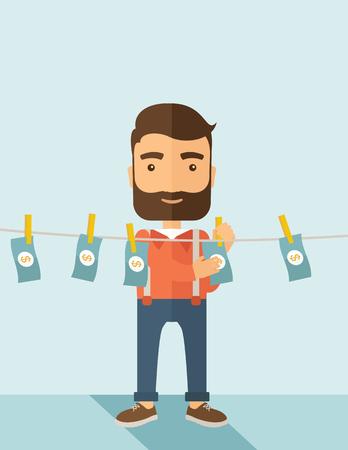 faillite: Un homme d'affaires � la barbe permanent accroch� son argent a un probl�me financier. Il entrer dans le blanchiment d'argent entreprise. concept de la faillite. Un style contemporain avec le pastel palette douce fond teint� bleu. Vector design plat illustration. Layo Vertical Illustration