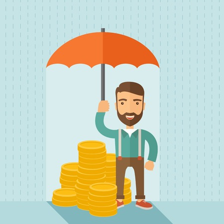 A businessman with beard standing holding umbrella protecting his money to investments, money risk management. Saving money for any storm problem will come. Business concept.A contemporary style with pastel palette soft blue tinted background. Vector flat